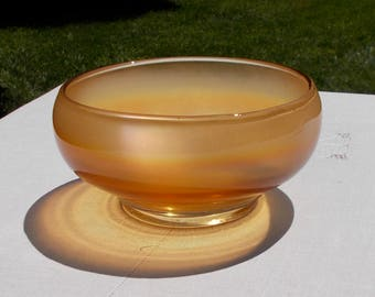 40s Carnival Glass Serving Bowl Marigold Smooth