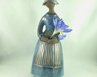 "Vintage 11"" Jie Gantofta Sweden by Elsi Bourelius Girl Figurine Pottery  Bud Vase, Scandinavian Art Studio Pottery"