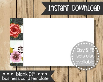 Blank DIY Business Card - Flower Stripe - Do It Yourself Blank Business Card Template - Blank Business Card - INSTANT DOWNLOAD