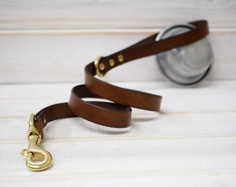 Dog Leash Leather, Solid Brass Hardware Leash, Dog Leash, Leather Dog Leash, Strong Leather Dog Leash, Dog Lead, Water Resistant Leash