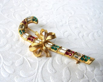 Vintage Rhinestone Candy Cane Brooch Christmas Pin Holiday Clip Costume Jewelry Red Green Gold Bow Baguettes