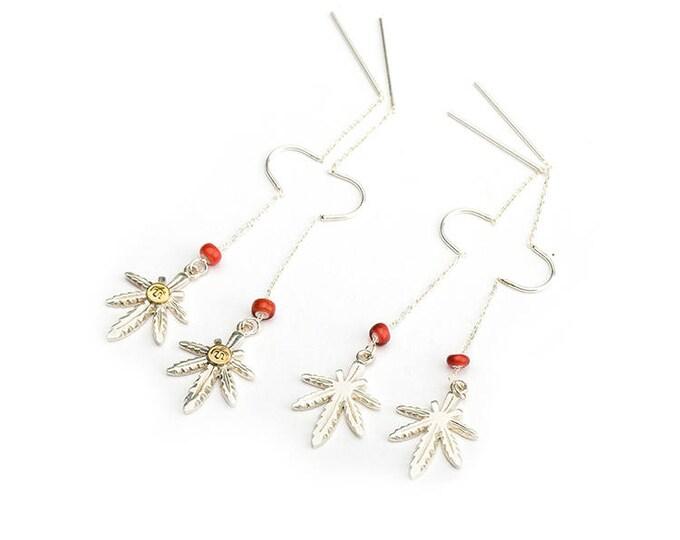 Silver Leaf Earring | Hemp Leaf Earring | Threader Earrings | Marijuana Earring | Two Tone Earring |Dangle Earring |Boho Earring Flying Bird