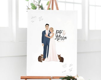 Wedding Guest Book with Couple Portrait Wedding Guest book Alternative for Unique Wedding Guest book Idea - The Penny