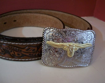 SILVER PLATED STeeR BUCKLE LeaTHER BeLT