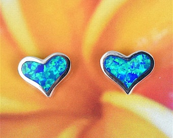 Heart Earring, Opal Earring, Hawaii Jewelry, Sterling Silver Blue Opal Inlay Heart Stud Earring, Hawaiian Jewelry, E4205