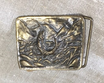 Adezy Solid Brass Belt Buckle Featuring Leaping Fish Trout Marked Denver 1975