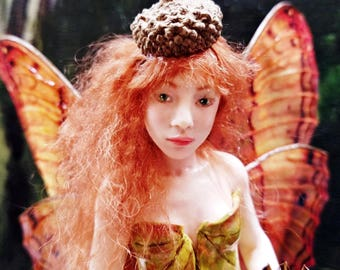 Red Hair Doll Realistic Fairy Figurine with Acorn Hat OOAK Art Doll Collectible