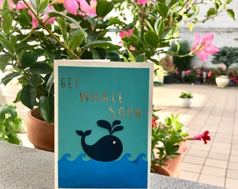 Get Whale Soon Greeting Card   Get Well Soon Card   Get Well Card