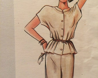 Beautiful Vogue American Designer Skirt and Blouse Pattern---Vogue 2531---by John Anthony
