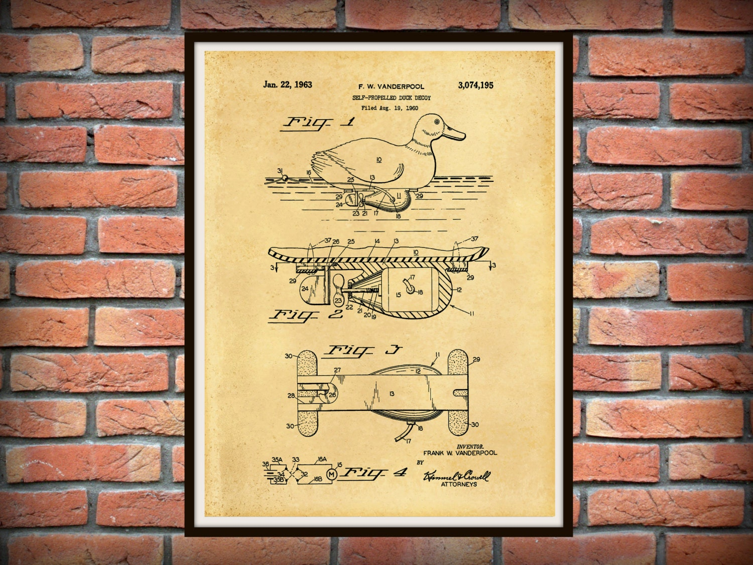 Patent 1960 Duck Decoy Patent - Self Propelled Duck Decoy - Art ...