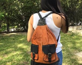 Backpack bag, large, leather backpack, Bikers Bag ,brown leather ,black,back pack