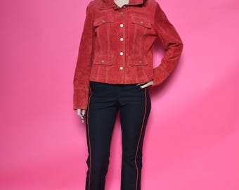Vintage 90's Suede Leather Red Jacket / Real Suede Snap Button Jacket - Size Medium