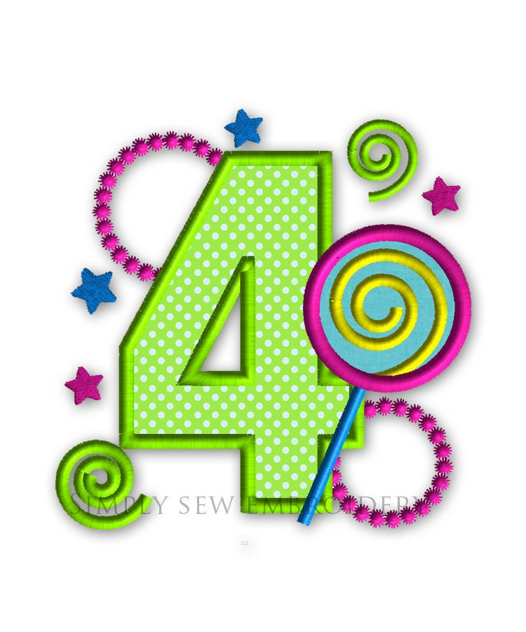 Happy birthday celebration number four girl embroidery for Embroidery office design version 9