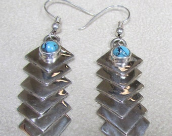 Sterling Silver and Turquoise Wire Dangle Earrings