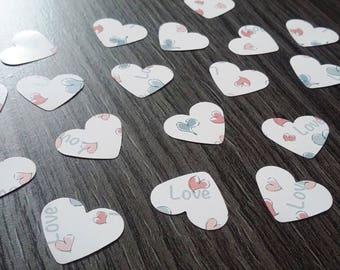 """Table confetti 100 x hearts """"love"""""""