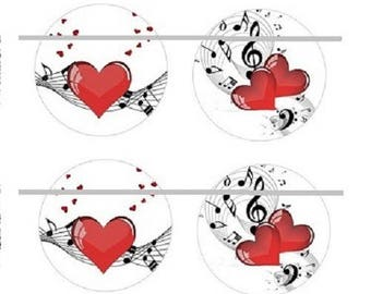 25mm, 2 pairs of music and heart cabochons