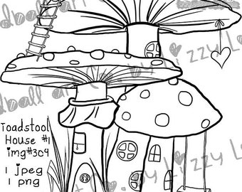 INSTANT DOWNLOAD Digital Stamp Cute Little Whimsical Mushroom Home - Toadstool House No. 1 Image No.309 by Lizzy Love