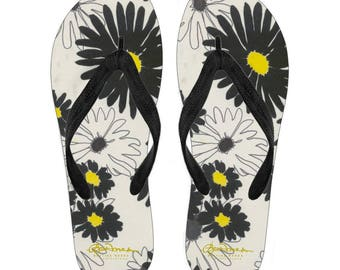Daisy Canvas and Vinyl Flip Flops- Men's and Women's: S, M, L, XL