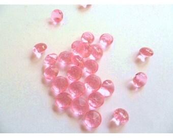 40 Ct Edible MINI Pink Diamonds/ Pink Sugar Crystals/ Pink Edible Gems/ Pink Isomalt Diamonds/ Pink Sugar Diamonds