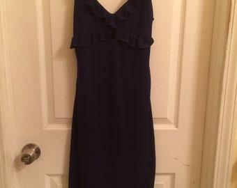 Navy Blue Vintage Casual Corner Ladies Thin Strap Dress
