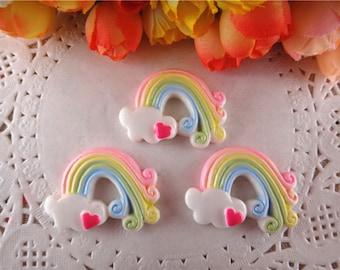 2 x Rainbow Rainbow heart cabochon size 37 * 26 mm