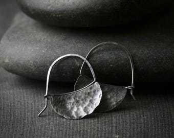 Oxidized hammered sterling silver blade earrings hoops