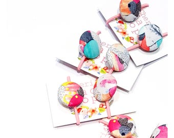 Button hair ties - 'KAPOW' (Laura Blythman design) 27mm size