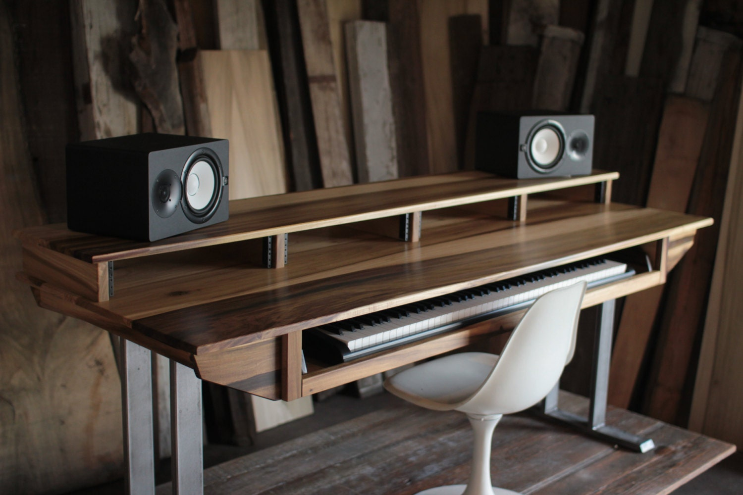 Large Modern Wood Recording Studio Desk For Composer