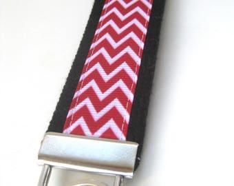 Wristlet Key Fob- Wrist Keychain for Women- Red Chevron KEY FOB- Key Lanyard- WRIST Key Chain- Mens Black Key Ring- Teacher Gift Under 10