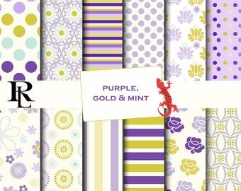Purple gold mint Digital Paper - Digital Background - Paper background - lavender paper pack - stripe digital paper- flower digital paper