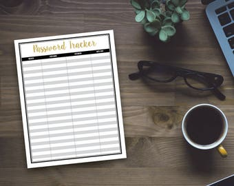 Printable Password Tracker - Fun Gold Printable Organizing Sheet - Office Organzing - Home Organizing - Instant Download