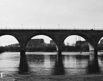 Stone Arch Bridge Skyline/black and white photography/Minneapolis skyline/bridge/landmark/Father's day Gift/Graduation Gift/ StoneArch Photo