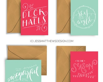 Handcrafted Christmas Cards (Set of 4) Festive Season Holiday Hand Lettering Typography