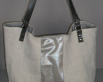 Ecru linen band glitter tote bag