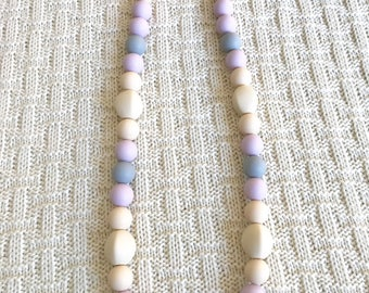 Silicone Teething Necklace, Nursing Necklace, Chew Beads, lilac gray
