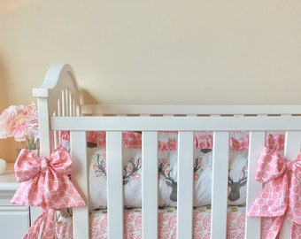 Pink Stag Floral Crib Bumpers. Stag Tulip Crib Bumpers. Crib Bumpers Pink Stag.