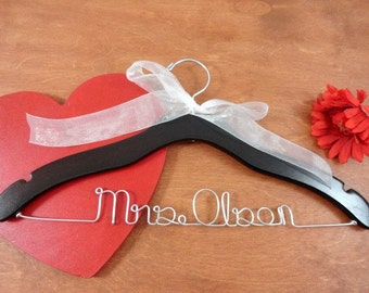 Last Name Hangers - Custom Name Hangers - Bridal Hangers - Bridal Accessories - Wedding Dress Hangers - Personalized Hangers - Bride Hanger