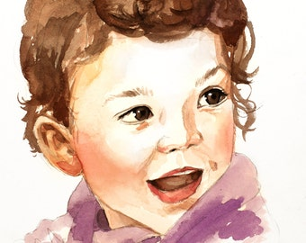"""Custom Child Kid Watercolor Portrait 5""""x7"""" Hand Painted!! Personalized Artwork. Realistic painting from your photographs. Wall Art gift."""