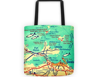 Put In Bay Tote Bag, Port Clinton Ohio Tote Bag, Valentines Gift Mom, Put in Bay Gift, Put in Bay Map Ohio Gift Lake Erie Map