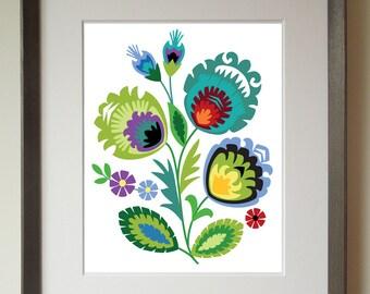 Polish Folk Art Print, Green flower