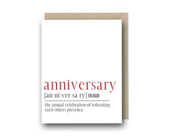 Funny Anniversary Card - Anniversary Definition Card - First Anniversary Card, Funny Anniversary Card for Husband, Wedding Anniversary Card