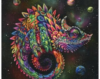 "Chameleon Art Print - Surreal Art - Rainbow Lizard - Trippy Art - Wall Art - ""Rainbow Herbert"" by Black Ink Art"