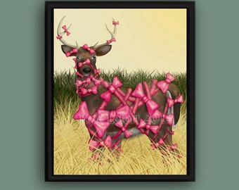 Bow Season - 8 X 10 Glossy Photo Paper Print - Deer Digital Painting - The Curious Concepts Series