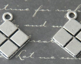 2 square chocolate silver charms