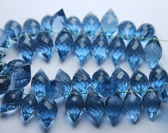 New Arrival,20 Pcs,Superb-Finest Quality,London Blue Quartz Faceted Dew Drops Shape Briolettes,15mm size,