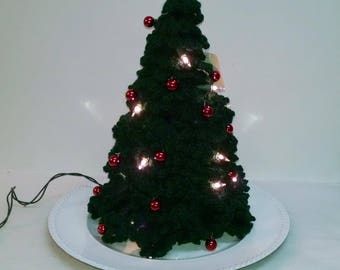 Crochet Christmas Tree dark green with lights table top tree