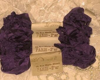 Scrunched Seam Binding ribbon, Crinkled Seam Binding, Scrunched and Crinkled Seam Binding Package Aubergine ECS