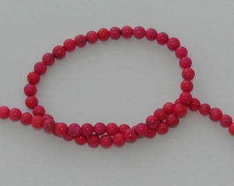 10 pearls 6 mm natural howlite Fuchsia/pink
