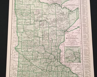 1937 Map of Minnesota and Mississippi, Vintage Rand McNally, Original 11x14 Color Map