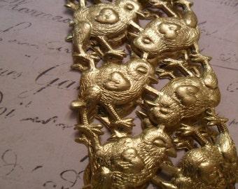 Sweet Metallic Gold Vintage Style Dresden Baby Easter Chicks German Scrap